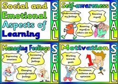 Free printable Social and Emotional Aspects of Learning (SEAL) for classroom bulletin board display.  Personal, Health and Social Education.