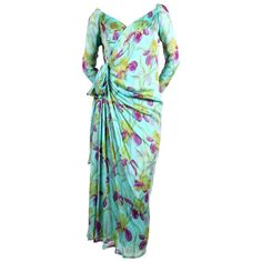 For Sale on - Very rare floral printed silk mousseline haute couture dress designed by Yves Saint Laurent dating to the late Dress best fits a size Approximate Floral Print Gowns, Printed Gowns, Silk Floral Dress, Silk Dress, Printed Silk, Haute Couture Dresses, Haute Couture Fashion, Yves Saint Laurent, Christian Dior