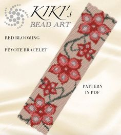 This is an own designed pattern in PDF format, downloadable directly from ETSY. This pattern is for my Red blooming peyote bracelet, which is created in even, 3 drop peyote. The pdf file includes: 1. a large picture of the pattern 2. a large, detailed graph of the pattern, 3. a bead legend with the colour numbers and count of the delica beads for the suggested length 4. a word chart of the pattern Please note that my patterns do not include instructions for how to do the peyote stitch…