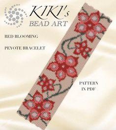 Pattern, peyote bracelet - Red blooming peyote bracelet pattern in PDF - instant download