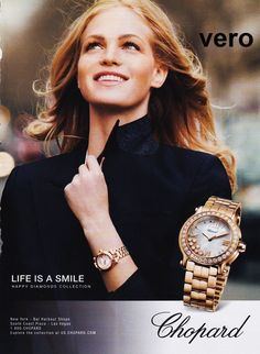 CHOPARD 2014 watch magazine ad print page clipping advertisement gold diamonds