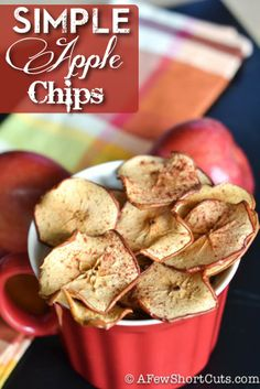 The perfect simple snack! Simple Apple Chips Recipe! Naturally gluten free