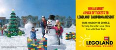Enter now to win one of the 8 family 4 pack of tickets to LEGOLAND California. Happy Holidays from Red Tricycle!    Red Tricycle is an online city guide for busy parents, we offer ideas for cool things to see, eat and do with your kids in Los Angeles