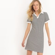 e307020f815 Image Two-Tone Striped Dress with Polo Collar La Redoute Collections