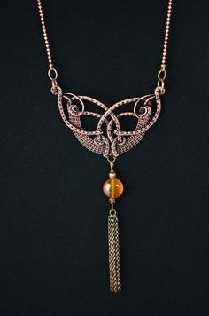 Agate necklace unusual evening jewelry medieval by OrioleStudio