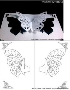 Wiing of Butterfly 3d pop-up card/kirigami pattern
