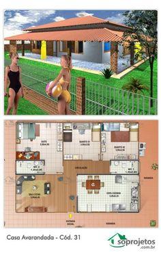 Casa com Varanda ao redor, totalizando 136 m² de varanda. Projeto de casa com 2 dormitórios e uma suíte. Sala de estar e jantar conjugados. Cozinha com copa e área de serviço. Telhado em várias águas.