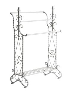 Small White Metal freestanding TOWEL RAIL towel stand shabby / chic bathroom