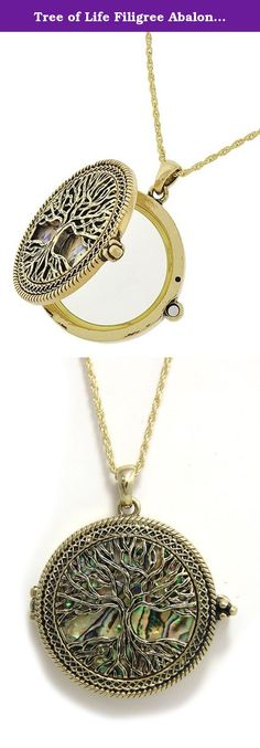 Tree of Life Filigree Abalone Pendant Magnifier Necklace - Goldtone 30-33 inch Chain. Great conversation piece.