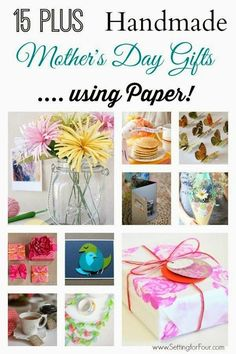 15 Plus Handmade DIY Mothers Day Gifts to make with paper! Fun to make and give to Mom for Mother's Day, birthdays.
