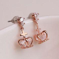 Dangling Crown Rhinestone Earrings   LilyFair Jewelry, $18.99!