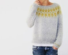 Pick up the Humulus pattern by and create a sweater with a statement - don't you just love that yoke! Pattern link in our bio. Punto Fair Isle, Icelandic Sweaters, Fair Isle Knitting, How To Purl Knit, Knitwear, Knit Crochet, Knitting Patterns, Textiles, My Style