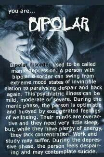 You are Bipolar: Used to be called manic depression. A person with Bipolar… Bipolar Disorder Quotes, Bipolar Quotes, Panic Disorder, Anxiety Disorder, Bipolar Humor, Bipolar Symptoms, Bipolar Diagnosis, Mood Quotes, Bipolar Awareness