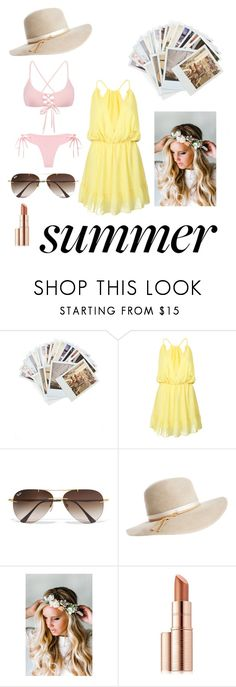 """""""SUMMER!!! ❤️"""" by jasminefriesen ❤ liked on Polyvore featuring Chronicle Books, WithChic, Ray-Ban, Calypso Private Label, Emily Rose Flower Crowns and Estée Lauder"""