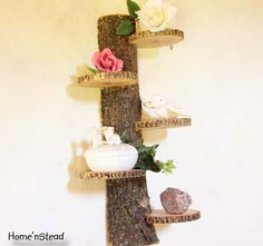 Rustic Shelf Tiered Trophy Trinket Stand Display Rustic Home Decor