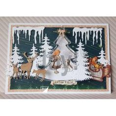 Girl with dog Girl in sled christmas celebrations transparante kerstboom Anton Pieck, Die Cut, Embossed Cards, Winter Christmas, Wedding Events, Stencils, Craft Stamps, Card Making, Joy