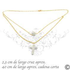 492132c969cf Collar de acero quirúrgico ionizado en oro con cruz y esfera de strass.  Envío a todo Chile