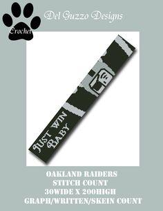 (4) Name: 'Crocheting : Oakland Raiders Scarf Crochet Graph