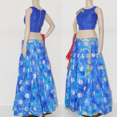 CC1233. Silk brocade skirt with top and dupatta