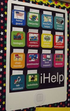 iHelp classroom helpers board Would also be good for different assignments, etc