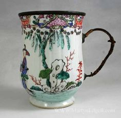 Chinese porcelain tankard with Make Do handle and rim, circa 1750  ... my shock pink Trollbeads are going to be killer when combined with this green and white bracelet... love this lovely old tankard..