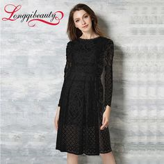 Elegant Princess Dress 2016 Spring New Design Women Bohemian Hollow Out Lace Dress Longqibeauty Women's Long Sleeve Clothes