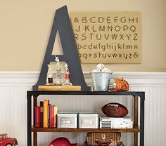 "Harper Chalkboard Letters Pottery Barn Kids Perfect for Homework room.  Get an ""L"" and a ""B"" to designate their spaces."