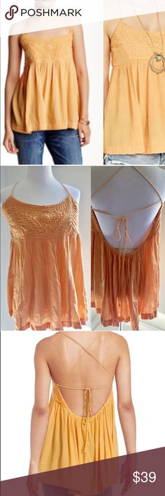 L Free People New Blackbird Tank Top Orange FREE PEOPLE orange Blackbird embroidered tank top with spaghetti straps. Size Large new with tags. Retails for $78. Free People Tops Tank Tops