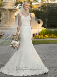 Straps Lace Appliques Trumpet Mermaid V-back Wedding Dresses