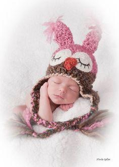 Sleepy Owl Hat Girl Hat Owl Hat  6  12 month baby by JojosBootique