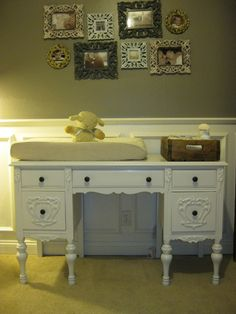 A Vintage Desk For A Changing Table! LOVE This! And The Photos U0026 Old
