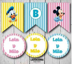 Kit imprimible / infantiles / Disney / Mickey Minnie Donald Daisy Pluto / Baby Shower / Candy bar y decoracion / Banderines / Toppers / Invitaciones / Golosinas / Fiestas temáticas / Diseño para niños / Primer año / Hazlo tu misma / Envios a todo el mundo / Printable kit / Kids party / Decor / Disney world / Themed party / Design for boys / DIY / We ship worldwide / lauraydonna@gmail.com / Click on image to buy / Click en la imagen para comprar