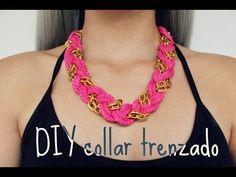 DIY collar trenzado - YouTube T Shirt Yarn, T Shirt Diy, Crochet Accessories, Handmade Accessories, Knot Necklace, Crochet Necklace, Diy For Girls, Collars, Jewelry Making