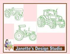 Machine Embroidery Design Set of  10 Redwork Tractors 4x4 inches.   Designs by Janette's Design Studio Artwork by Clipartoon.com  You will receive a .zip file in the following formats.  .pec, .pes, .xxx, .hus, vip, .vp3, .jef, .exp, .dst.