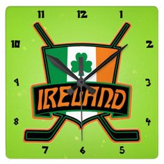 #Irish Ice Hockey Flag Logo Square Wallclock. Check out this custom made wall clock. $29.95. To see this design on the full range of products, please visit my store: www.zazzle.com/gamefacegear*/ #HockeyClocks #IceHockey