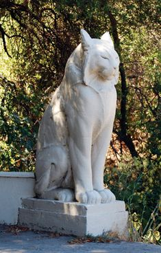 one of the Cat statues at the entrance into Poets Canyon, Los Gatos,  CA