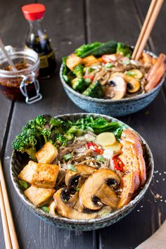 Ramen with grilled vegetables and tofu - Lazy Cat Kitchen