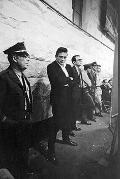 Johnny Cash at Folsom Prison just before he went up on stage..1968