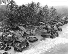 Busy beachhead, Hollandia, Dutch New Guinea, 1944