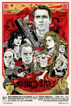 Artwork Arnold Schwarzenegger from Total Recall Movie Movie Poster Image on Canvas Scifi Horror Pop-Art Original Framed Fine Art Painting