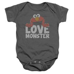 """Checkout our #LicensedGear products FREE SHIPPING + 10% OFF Coupon Code """"Official"""" Sesame Street / Love Monster-infant Snapsuit-charcoal-6mos - Sesame Street / Love Monster-infant Snapsuit-charcoal-6mos - Price: $29.99. Buy now at https://officiallylicensedgear.com/sesame-street-love-monster-infant-snapsuit-charcoal-6mos"""