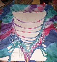 Rhonda Rawlings Project Tie Dyed Tee With Cut Outs And Ladder Weaving   Rit Fabric Dye Clothing Dyeing