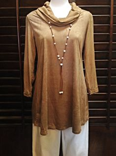 Boho Chic  - Suede cowl neck tunic  - $99