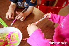 Fine motor, patterning, or sorting activity with pipecleaners and straws