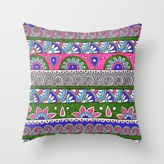 'Patterned Stripes 3' Throw Pillow by PeriwinklePeacoat