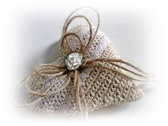 Rustic Ring Pillow. Rustic Wedding Pillow. Crochet Ring Bearer Pillow. Heart Ring Holder. Rustic Beach Weddinig. Engagement Ring Holder by VintageShabbyRustick on Etsy