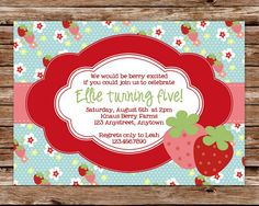 Printable Strawberry Birthday Party by thepaperblossomshop on Etsy, $12.50