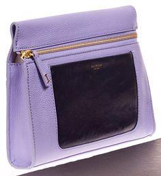 ISAAC MIZRAHI The Jenna Collection Leather Lilac Navy Clutch Handbag NWT #IsaacMizrahi #Clutch