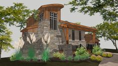 This contemporary cottage house plan is ideal for empty-nesters or those looking for a retirement home. The Colina de Cobre small house plan seamlessly blends modern design with the rustic elements of a cabin. The first-floor level boasts a spacious living room area open to the kitchen and breakfast island. Privately tucked away to the left is the gorgeous master suite with a full bathroom, stackable washer & dryer, and walking closet.