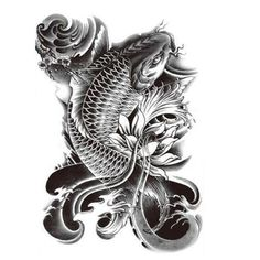 Fish tattoo & Buddha tattoo (Set 2) - Large Black Temporary tattoo for Men/ Women - (Koi Fish-Buda tattoo)